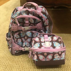 Girls Pottery Barn kids backpack and lunch bag